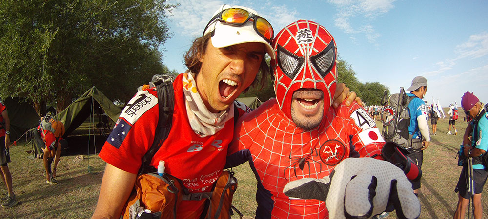 Roger Hanney With Japanese Spiderman in Gobi. Sanshu is an underground wrestler in Japan.