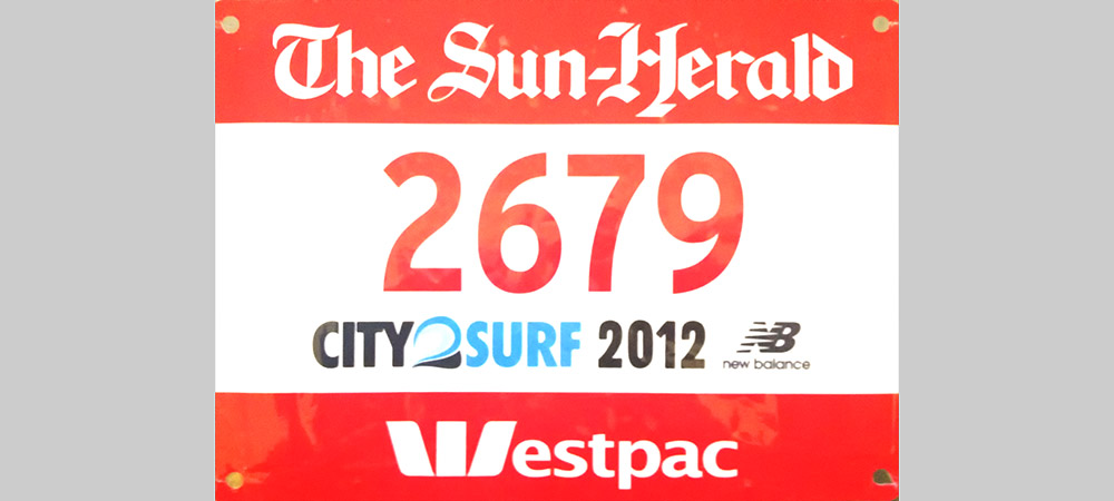 City2Surf 2012 Bib Shona Stephenson