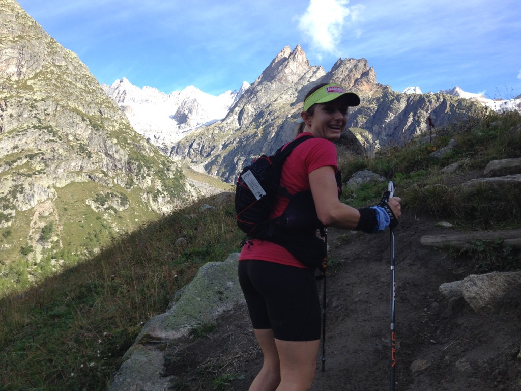 Shona Stephenson ascending a mountain in the Ultra Trail du Mt Blanc 2014