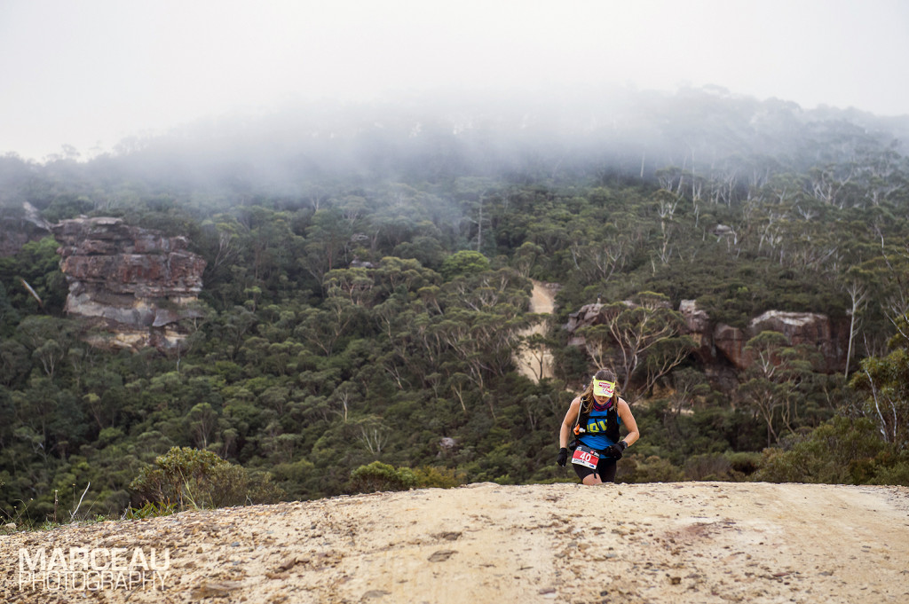 Shona Stephenson climbing up Narrow Neck at TNF100 Australia