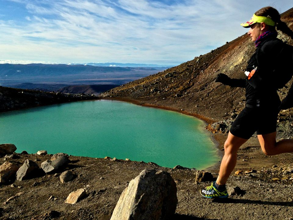Shona Stephenson descending the saddle of the  Red Crater.